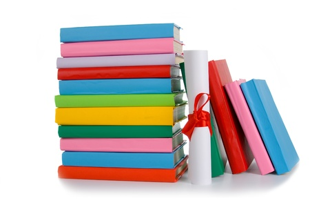 Diploma and stack of books on a white background photo