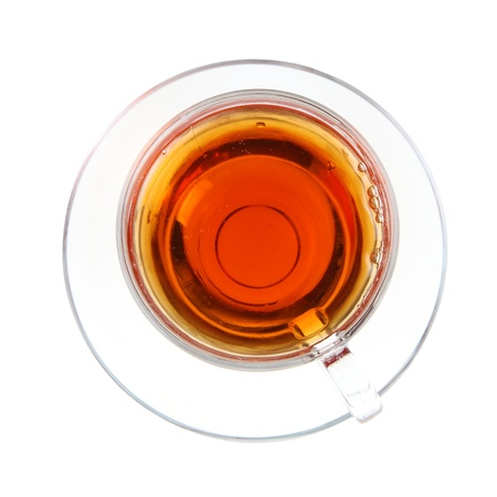 Transparent cup of tea isolated on white background Stock Photo