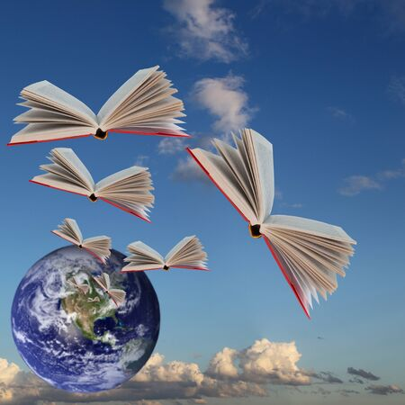 Books are flying against the background of the cloudy sky and  earth