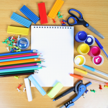 School accessories on wooden table  photo