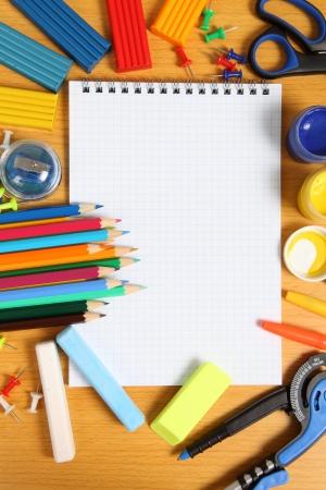 School accessories on wooden table  Imagens