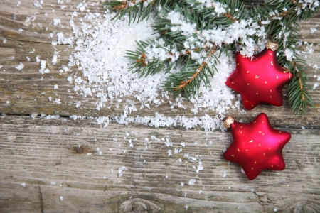 Red Christmas decoration on spruce branches with snow Stock Photo - 15629644