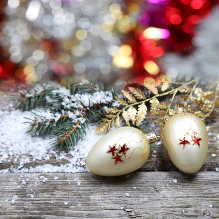 Christmas decorations on a wooden background Stock Photo - 15629725