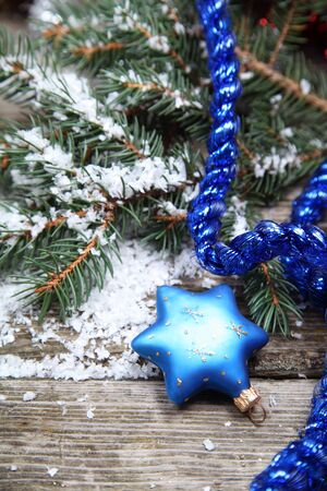 Blue Christmas decorations on a wooden background Stock Photo - 15629726