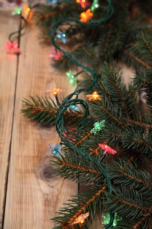 Christmas fir tree on the wooden board Stock Photo - 15724669