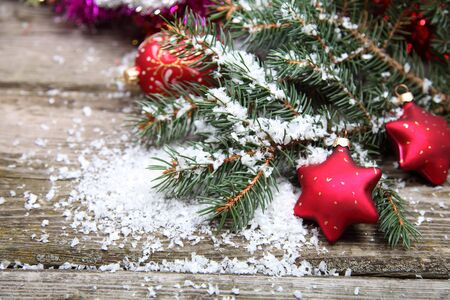 Red Christmas decoration on spruce branches with snow Stock Photo - 15724697