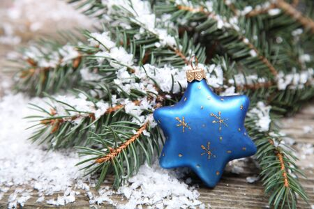 Blue Christmas decorations on a wooden background Stock Photo - 15724673
