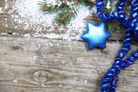 Blue Christmas decorations on a wooden background Stock Photo - 15724661