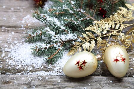 Christmas decorations on a wooden background Stock Photo - 15843552