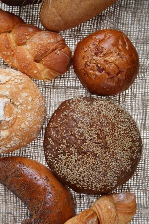 bagging: Bread on a  background of bagging