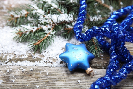 Blue Christmas decorations on a wooden background Stock Photo - 15990612