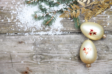 Christmas decorations on a wooden background photo