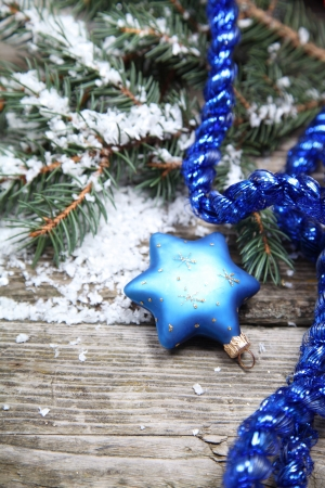 Blue Christmas decorations on a wooden background Stock Photo - 16109232