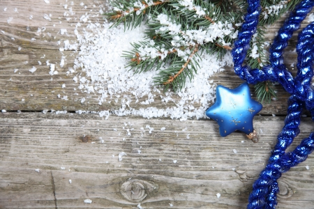 Blue Christmas decorations on a wooden background Stock Photo - 16688581