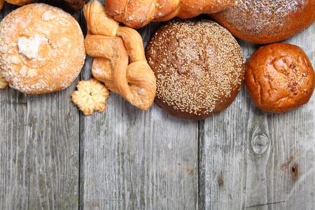 Bread on a wooden table close-up Stock Photo - 16688584