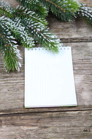 Christmas fir tree and paper on the wooden board Stock Photo - 16920617