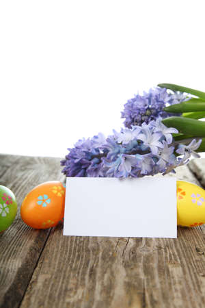 ard: Easter eggs, hyacinth and �ard on wooden background Stock Photo