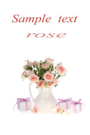 Bouquet of pink roses  in a vase isolated on a white background photo