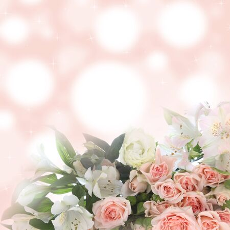 Bouquet of pink and white flowers on a blurred abstract background photo
