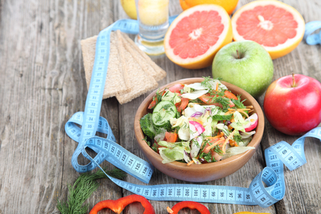 Healthy food for diet on a wooden table