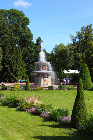 petergof: ST PETERSBURG, RUSSIA - AUGUST 2, 2015: Roman fountains at Pertergof Palace. The Petergof palace included in the UNESCOs World Heritage List. Editorial
