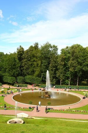 waterfall model: ST PETERSBURG, RUSSIA - AUGUST 2, 2015: Fountain Large Bowl at Pertergof Palace. The Petergof palace included in the UNESCOs World Heritage List.