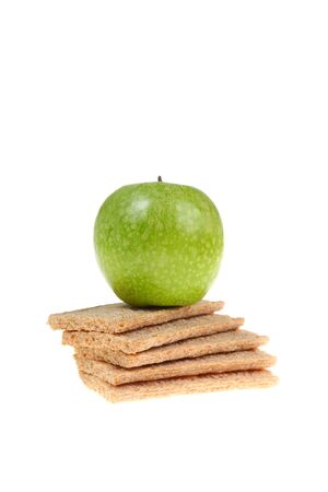 centimetre: Green apple and rye bread isolated on white background Stock Photo
