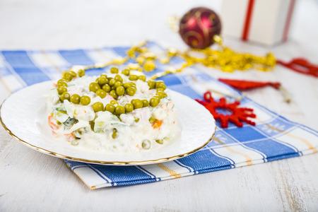 Salad on a festive Christmas table