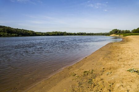 oka: Beautiful landscape with a river and a sandy beach on a summer day. Oka river, Russia.