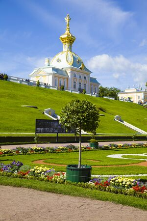 waterfall model: ST PETERSBURG, RUSSIA - AUGUST 2, 2015: Grand Palace at Pertergof Palace. The Petergof palace included in the UNESCOs World Heritage List.