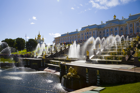 antique vase: ST PETERSBURG, RUSSIA - AUGUST 2, 2015: Grand cascade at Pertergof Palace. The Petergof palace included in the UNESCOs World Heritage List.