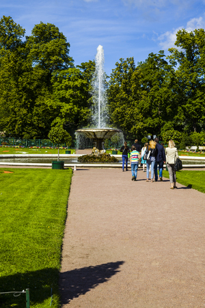 waterfall model: ST PETERSBURG, RUSSIA - AUGUST 2, 2015: Fountain Cup at Pertergof Palace. The Petergof palace included in the UNESCOs World Heritage List.