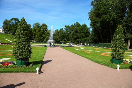 ST PETERSBURG, RUSSIA - AUGUST 2, 2015: Fountain Cup at Pertergof Palace. The Petergof palace included in the UNESCOs World Heritage List.