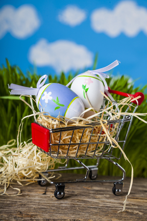 Shopping cart with Easter eggs on a background of green grass.  Easter greeting card.Easter sale.