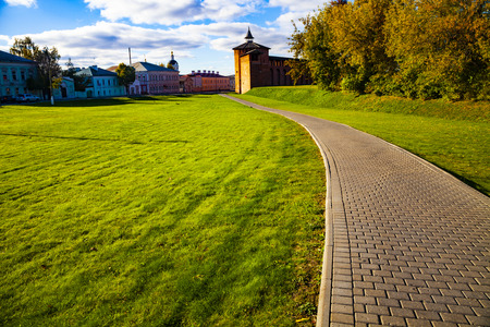 the city of Kolomna, Moscow region. Beautiful old ensemble of the Kolomna Kremlin with churches on an autumn day. Imagens