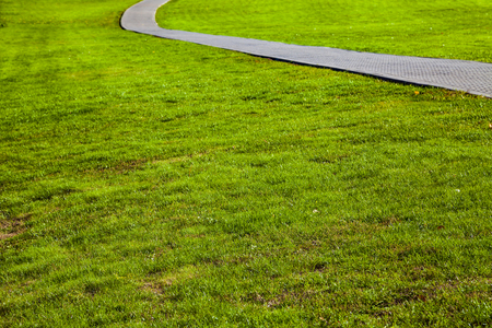 Stone path in the park and green lawn. Beautiful summer city park for walking. Stock Photo