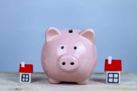 Świnka skarbonka i dwa domy. Koncepcja: gromadzenie pieniędzy na własne mieszkanie, dom, mieszkanie.