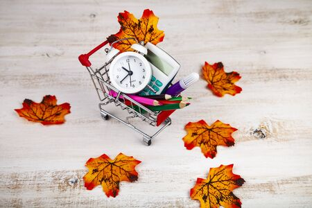 Items for school in a shopping cart and autumn leaves. Back to school.