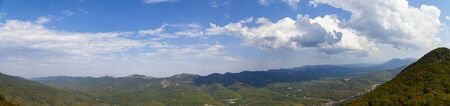 Beautiful view of the mountain peaks on a summer day. Caucasus mountains.Panorama.