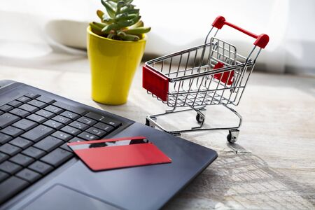 Laptop with a credit card and shopping cart. Online shopping. Foto de archivo