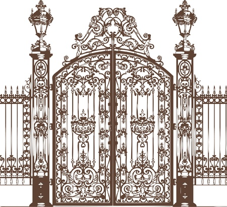 and gate: vector gate silhouette   Illustration