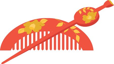 hairpin: vector illustration of the Japanese comb and hairpin Illustration