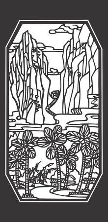 mountainous: Vector illustration of mountainous landscape and trees Illustration