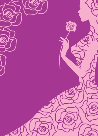 cor: abstract vector illustration of a girl and roses