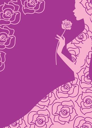 mujer con rosas: ilustraci�n vectorial abstracto de una chica y rosas