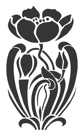 floral silhouette: abstract vector illustration with  flower and leaves
