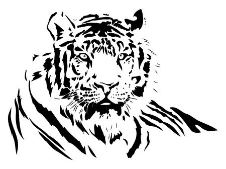 화이트: black silhouette of a wild tiger, vector illustration