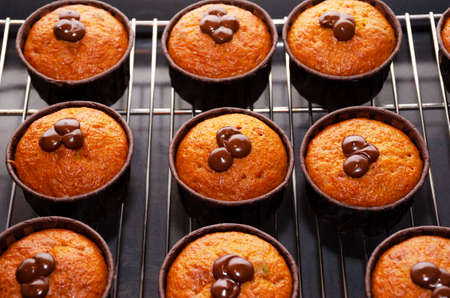 Pumpkin Muffins with Chocolate in paper baking molds on the Rack for Cooling