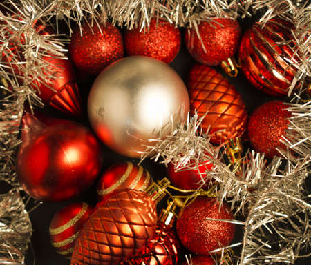 Christmas decoration in red and silver ball Stock Photo