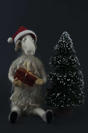 Ship with gift and Christmas tree Stock Photo